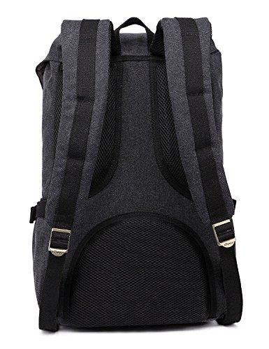 Mochila portátil Unisex Paquete de ocio de moda Para excursiones al aire libre viajes camping Por KAUKKO (Lona Ejercito verde) Lona Negro 2PCS
