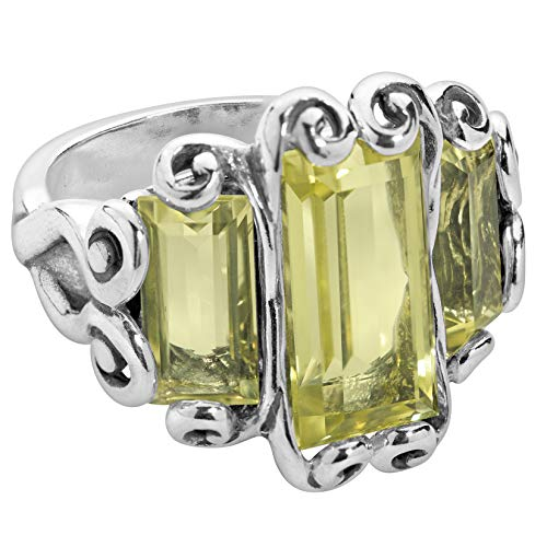 Silver Lemon Ring Sterling Quartz - Carolyn Pollack Sterling Silver Lemon Quartz Gemstone Three Stone Ring Size 10