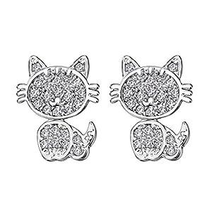 Neoglory Jewelry Platinum Plated Cat Post Stud Earrings Women Jewelry