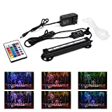 """Smiful LED Aquarium Light with Air Pump Bubble, Submersible Underwater 16 Color and 4 Mode Crystal Glass Fish Tank Light Controled by Remote or Power Button (7""""-Colorful)"""