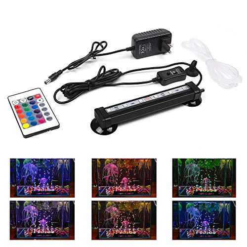 - Smiful LED Aquarium Light with Air Pump Bubble, Submersible Underwater 16 Color and 4 Mode Crystal Glass Fish Tank Light Controled by Remote or Power Button (7