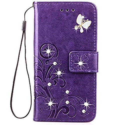 Galaxy S9 Bling Handmade Crystal Rhinestone Case,Lozeguyc 3D Beauty Lucky Flowers Butterfly PU Leather Credit Card Kickstand Strip Wallet Cover for Samsung Galaxy S9-Purple