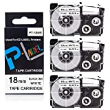 Pristar Compatible Label Tape Replacement for Casio XR-18WE XR18WE 18mm for Casio EZ Label Maker KL-120 KL-8100 KL-130 KL-820 KL-HD1-IH KL-750 KL-750B KL-7000 KL-8200 KL-G2, Black on White, 3-Pack