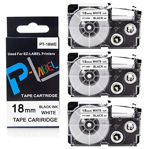 Pristar 18mm x 8m Replacement for Casio XR18WE XR-18WE Labeling Tape (Black on White), 3-Pack, for Casio EZ Label Maker KL-120 KL-8100 KL-130 KL-820 KL-HD1-IH KL-750 KL-750B KL-7000 KL-8200 KL-G2