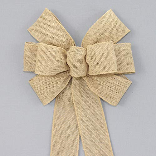 Natural Burlap Rustic Wreath Bow - available in 2 sizes -