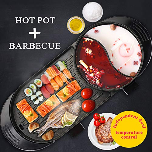 Uttiny Portable Electric Grill, 2000W Electric Indoor and Ourdoor Shabu Shabu Hot Pot with Barbecue Medical Stone Non-Stick Pan for 2-12 People Gatherings by Uttiny (Image #1)