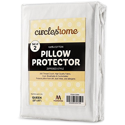 (Mastertex Zippered Pillow Protectors 100% Cotton, Breathable & Quiet (2 Pack) White Pillow Covers Protects from Dirt, Dust Mites & Allergens (Queen - Set of 2 - 20x30))