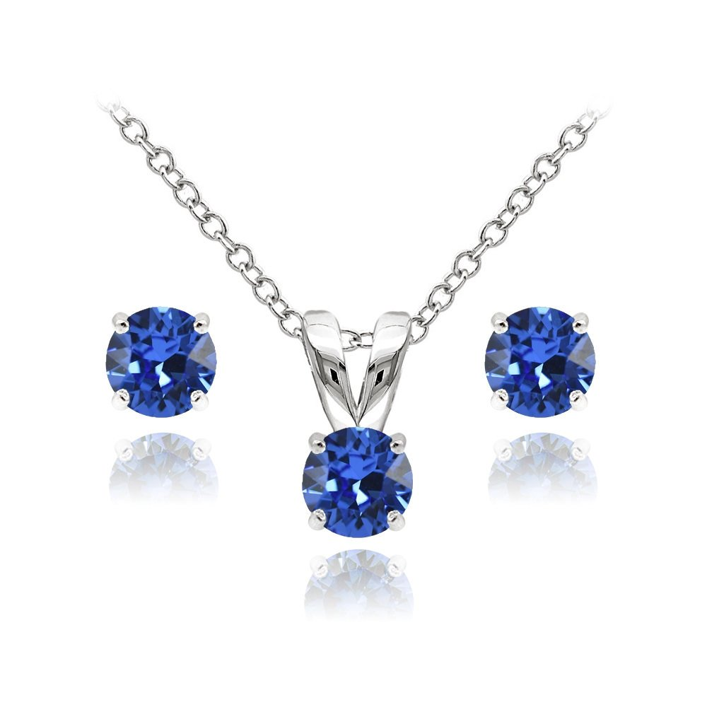 GemStar USA Sterling Silver Solitaire Nice Blue Necklace and Stud Earrings Set created with Swarovski Crystals