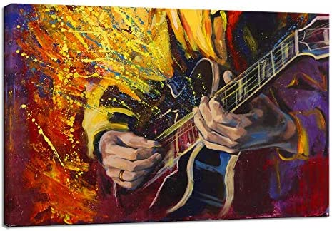 Guitarist Plays Guitar Canvas Wall Art Prints Music Paintings Piano Posters Home Decor Picture