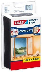 Tesa® Insect Stop Malla mosquitera para ventanas, color negro (1,7mx1,8m)