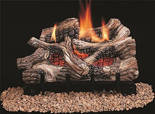 Glow Oak Log - Comfort Flame CRB3624PRA River Canyon Oak Vent-Free Ceramic Fiber Logs, 24-Inch