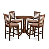 East West Furniture JAVN5-MAH-C 5 Piece Counter Height Table and 4 Chairs Set Review