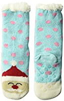 Jacques Moret Girls' Big Cozy Warmer, Blue Santa, Sock 6-8.5 Fits Shoe Size 7.5-3.5