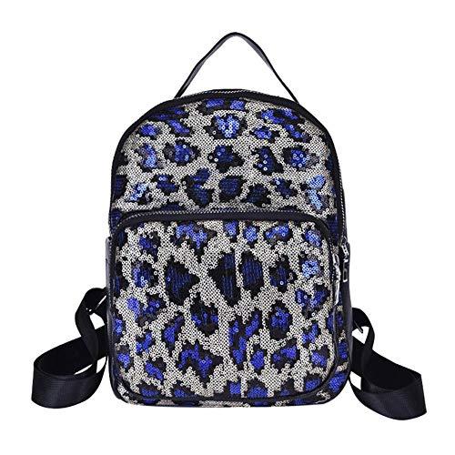 Mochila Viaje Escolar Mujeres Bolsa Bolsas Azul Rlfs De Lentejuelas Estampado Libro Leopardo xnqSaI