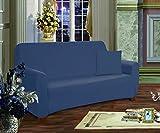 Elegant Comfort Furniture Jersey STRETCH SLIP-COVER, Loveseat Navy Blue