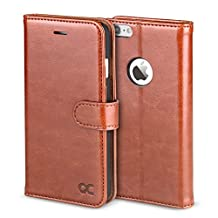 OCASE Leather Wallet Flip Case For For Apple iPhone 6/6S Devices -Brown