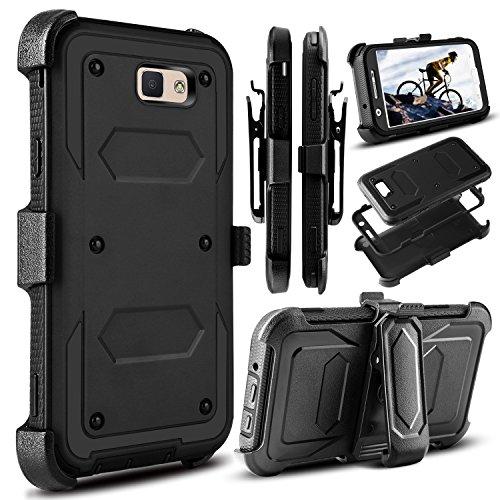 Galaxy J7 V Case, J7 Perx Case, Galaxy Halo Case, J7 Sky Pro Case, Venoro Heavy Duty Shockproof Full Body Protection Rugged Case Cover with Swivel Belt Clip and Kickstand Galaxy J7 2017 (Black)