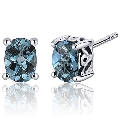 (London Blue Topaz Stud Earrings Sterling Silver Oval Cut 1.50)