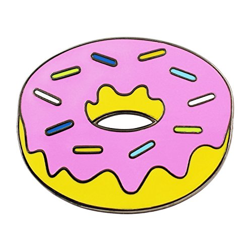 Real Sic Donut Pin Pink Donut Lapel Pin - Classic Simpsons Donut Pin for Backpacks, Jackets, Hats & Tops