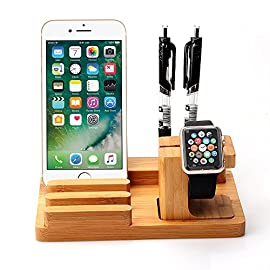 Apple Watch iPad iPhone Wooden Stand,Feitenn Bamboo Wood Charging Stand Desktop Station USB 2.0 Hub Bracket for iPhone 7 Samsung S8 LG G6 iWatch Ipad Kindle 11 Compatible with all versions of the Apple Watch (38mm and 42mm sizes)and iPhone 7/7plus/6S/6 plus,iPad mini 4/3/2,ipad 6/5/4/3/2, ipad pro 9.7,Kindle HD fire 8/7 100% Natural Bamboo Wood Apple Watch Cradle Holder inductive charger slots comfortably in the changing dock, simply place on the platform and works as clock while charging,Comfortable and elegant bamboo charging cradle, you can place in your kitchen, living room, desk, let you use more comfortable. (3 in 1) Rubber Mat on each corner of the bottom make it more stable and prevent scratch to your desk.