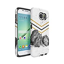 Rocky Mountains On White Cracked Marble Hard Plastic Shell & TPU Bumper Double Layer Tough Phone Case For Samsung Galaxy S6