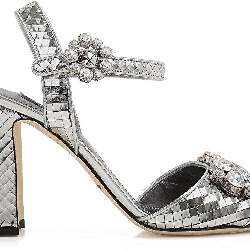 Dolce&gabbana Women's Silver Laminated Calf Leather High Heel Sandals Shoes - Size: 37.5 EU Dolce & Gabbana High Heel Heels