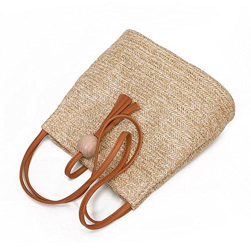 Hot Shoulder and Tote Zipper PU Capacity High Brown Tassels NXDA For Bag Pink Bag Purse Girls Fashion Crossbody Weave Handbags Women YUnaWW87