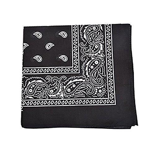 Mechaly Paisley 100% Polyester Unisex Bandanas - 12 Pack - Dozen Wholesale - Bandanas Black