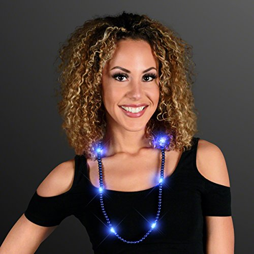 Blue Light Up LED Mardi Gras Bead Necklace -
