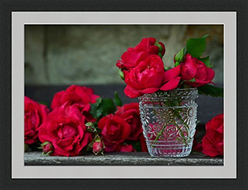 Red Roses in Vase Framed Wall Art Wall Picture Frames Wall Decor Pictures for Living Room Bedroom Office 30x40 cm