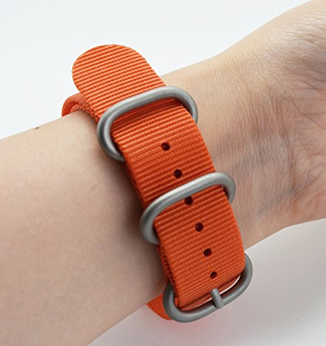 3e0f1204d86 MetaStrap 22mm Nylon Strap Zulu Watch Band with stainless steel  buckle(orange)
