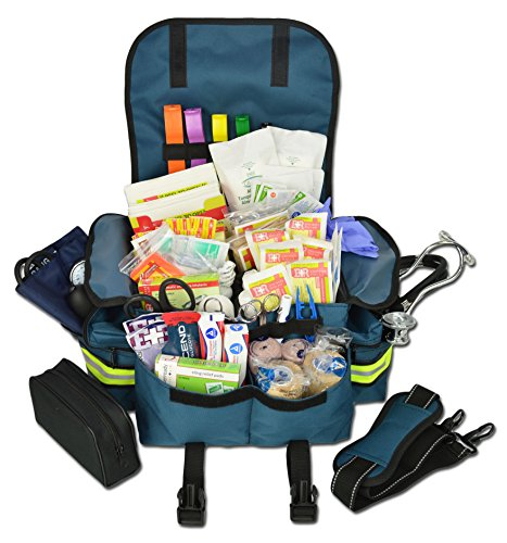 Lightning X Small First Responder EMT EMS Trauma Bag Stocked First Aid Fill Kit B (Navy Blue) ()
