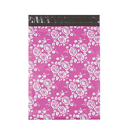 """Metronic 100 Pcs 9x12"""" Poly Mailer Envelopes Shipping Bags of Pink+White Rose Design with Self Adhesive, Waterproof and Tear-proof Postal Bags"""