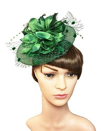 [YSJOY Womens Feather Flower Veil Mesh Fascinator Wedding Party Hair Aceessory Church Head Wear Cocktail Tea Party Derby Hat Dark Green] (Baby Costumes Melbourne)