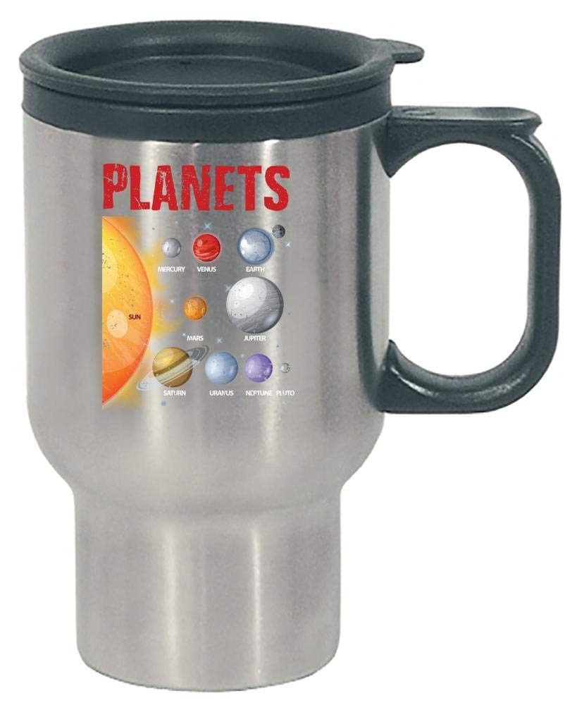 Funny Solar System - Planets Sun Moon - Space - Stainless Steel Travel Mug