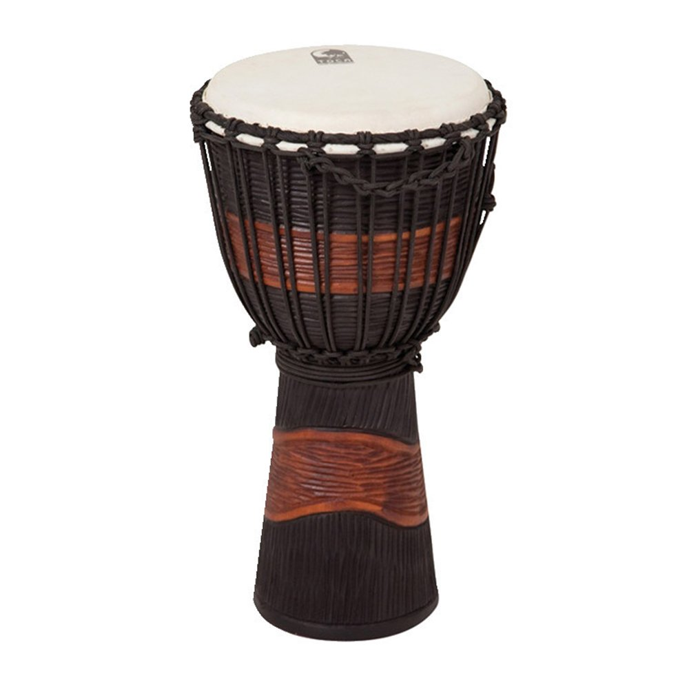 Toca TSSDJ-MB Street Series Rope Tuned Wood Djembe, Small - Brown and Black Stain