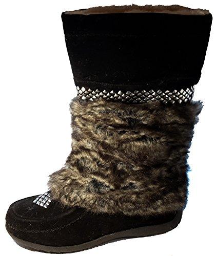 3-W-Hohenlimburg Gefütterte Winterstiefel mit extravagantem Fell Innen und Außen, Schwarz oder Braun, Damenschuhe, STI020, Stiefel für Damen, ein Echter Hingucker-Schuh. Schwarz