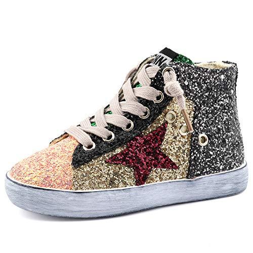 (Bakkotie Toddler Baby Glittler Shoe Girl/Boy Sequin Star High Top Sneaker(F1701-Gold/BBNN-35))
