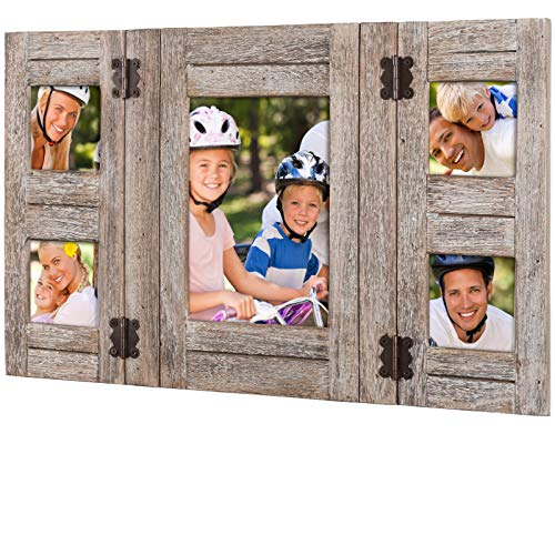Rustic Distressed Wood Collage Picture Frames: Holds 5 Photos: Collage Frame is Ready to Hang or Stand on Shelf. Shabby Chic, Driftwood, Barnwood, Farmhouse, Reclaimed Wood Picture Frame Collage (Rustic Family Picture Frames)