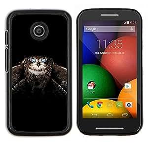 Caucho caso de Shell duro de la cubierta de accesorios de protección BY RAYDREAMMM - Motorola Moto E - Búho alas del pájaro Vuelo Animal Negro