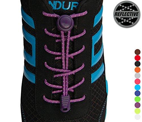 StoutGears Reflective No Tie Shoelaces Lock System - Elastic Shoelaces for Sneakers (1 Pair) (Purple)