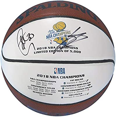 71a0c23a9231 Stephen Curry and Klay Thompson Golden State Warriors Dual Signed  Autographed 2018 NBA The Finals Champions White Panel Basketball