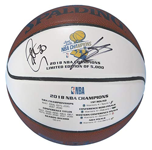 Stephen Curry and Klay Thompson Golden State Warriors Dual Signed Autographed 2018 NBA The Finals Champions White Panel Basketball JSA LOA COA