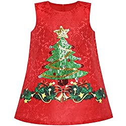 Girls A-line Christmas Tree Sequin Dress