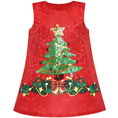 (LN47 Girls Dress A-line Christmas Tree Xmas Sequin Sparkling Holiday Party Size)