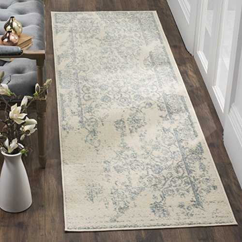 Safavieh Adirondack Collection ADR101S Ivory and Slate Oriental Vintage Distressed Runner (2'6