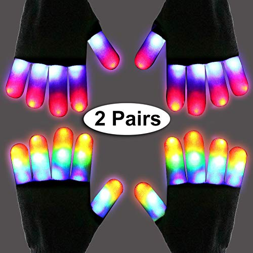 LED Gloves for Kids Light Up Gloves Adult Led Flashing Finger Gloves Rave Glow Glove Christmas Xmas Gifts Party Supplies Toys