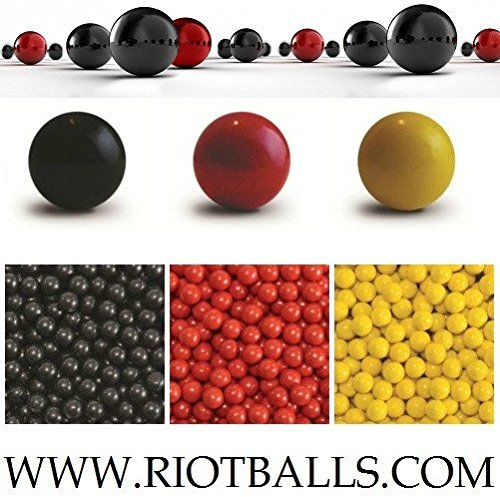 500 X 0.68 Cal. PVC/Nylon RED Riot Balls Self Defense Less Lethal Practice Paintball Rubber Balls by Riot Balls