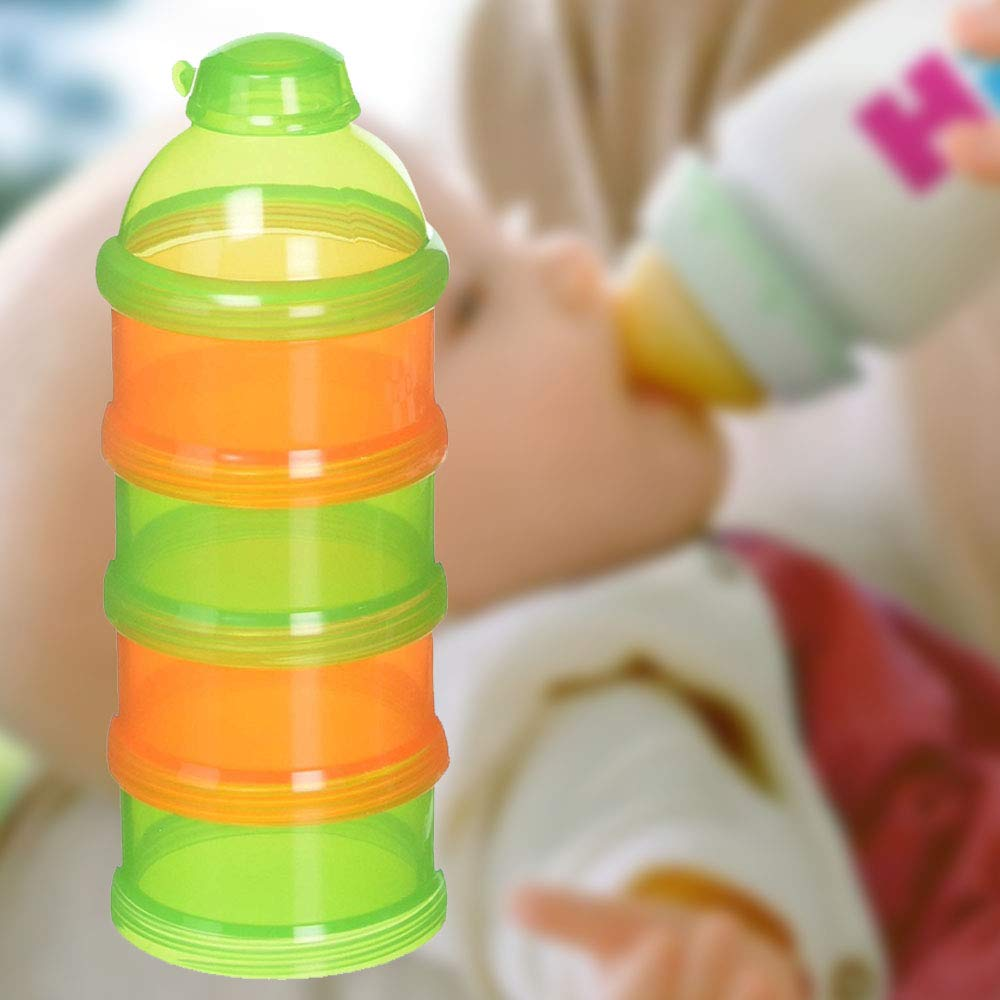 Baby Formula Divider Pak N Stak Formula Dispenser Orange//Green Easy to Pour Spout Four Separate Compartments BPA and Phthalate Free Convenient Way to Take Pre-Measured Powder Formula Snacks on The Go