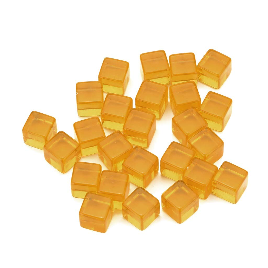 25 PCS Transparent Dice Cube Resin Dice Polyhedral Game Dice D6 Multi Sided Dice for Dungeons and Dragons/Playing Game/Card Games/Party (yellow)
